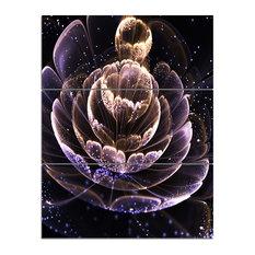 """""""Purple Ideal Fractal Flower With Pollen"""" Wall Art, 3 Panels, 28""""x36"""""""