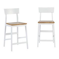 Christy Counter Chairs, Set of 2, Light Oak, White
