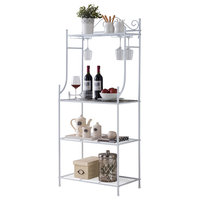 Wachau 4 Tier Free Standing Kitchen Bakers Rack, White Metal & Marble Wood