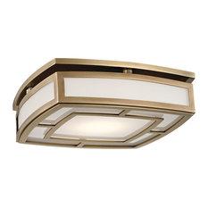 Elmore Large LED Flush Mount, Aged Brass Finish, Frosted Glass