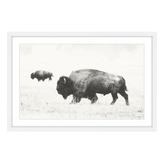 """Buffalo Pair"" Framed Painting Print, 36""x24"""