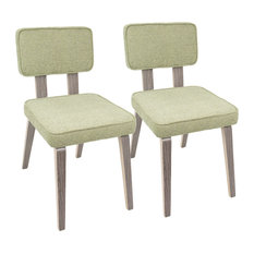 Dining Chair in Light Gray and Light Green Finish - Set of 2