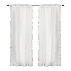 Tassels Rod Pocket Window Curtain Panel Pair, 54x108, White
