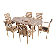 """66"""" Buckingham Oval Double Extension Table with 6 Stacking Chairs, Grade A Teak"""
