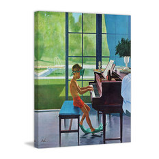 """Poolside Piano Practice"" Print on Canvas by George Hughes"