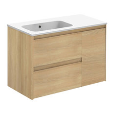 Ambra 90 Complete Vanity Unit, Nordic Oak, Without Mirror