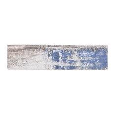 "Strait Wood 3""x12"" Ceramic Subway Tile, Blue/Black"