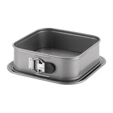 "Advanced Nonstick Bakeware 9"" Square Springform Dessert Pan, Gray, Silicone Grip"