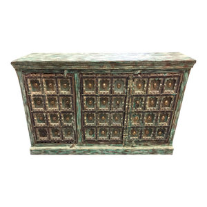 Mogul Interior - Consigned Green Distressed Square Carved Brass Medallion Sideboards Chest - Buffets And Sideboards
