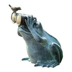 Frog Spectator With Bird Garden Sculpture