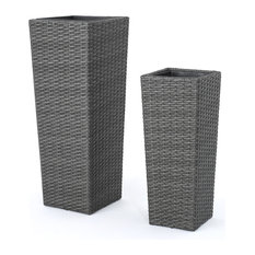 GDFStudio   Eden Outdoor Wicker Flower Pots, Gray, Set Of 2   Outdoor Pots