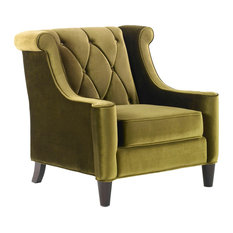 Barrister Chair, Velvet With Crystal Buttons, Green