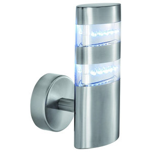 Satin Silver IP44 24 LED Outdoor Wall Light With Clear Diffuser