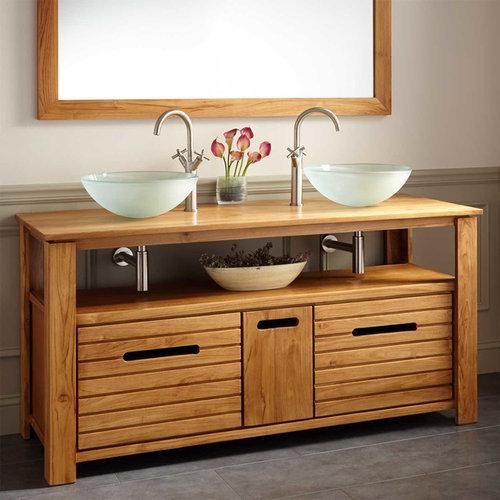 "60"" SIMMONS TEAK DOUBLE VESSEL SINK VANITY - Bathroom Vanities And Sink Consoles"