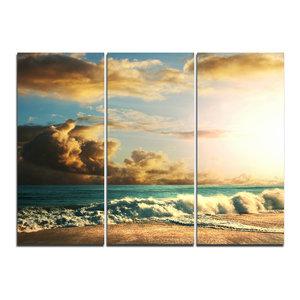 """""""Green Sea Beach Under Cloudy Sky"""" Wall Art, 3 Panels, 36""""x28"""""""