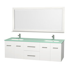 "Wyndham Collection 72"" Centra White Double Vanity With Square Porcelain Sink"