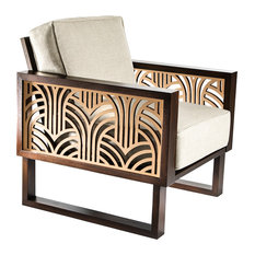 Twist Modern Art Deco Lounge Chair, Espresso/Natural