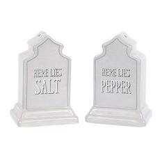 Here Lies Salt Here Lies Pepper Gravestones Salt and Pepper Shakers Set Ceramic