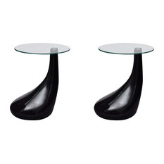 Water Drop Modern Coffee Tables, High Gloss Base/Tempered Glass, Black, Set of 2