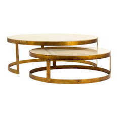 Portia Global Ivory Stone Gold Nest Round Coffee Tables   Coffee Tables