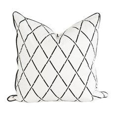 Hanoi Geometric Cushion Cover, White