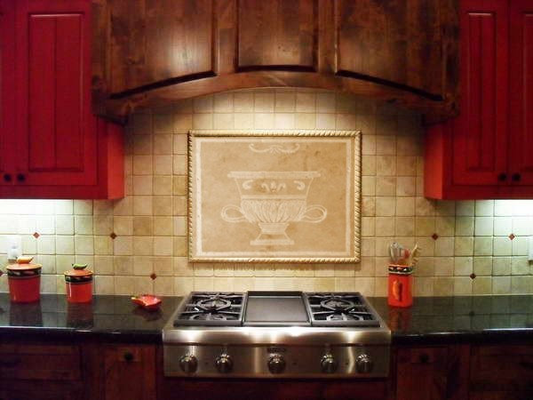 Custom Kitchen Tile Backsplash: Garden Urn - Travertine Marble