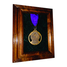 Solid Walnut Single Medal Awards Display Case, Red