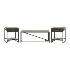 Bush Furniture Refinery Coffee Table With Set Of 2 End Tables Rustic Gray