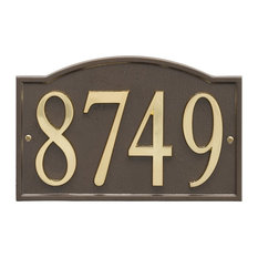 Custom Metal Address Plaque - Rectangle with Self-Stick Numerals - Bronze/Gold