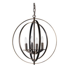 4-Light Antique Bronze Iron Rings Globe Cage Chandelier