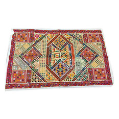 Mogul Interior - Indian Decorative Brown Tapestry Patchwork Wall Hanging - Tapestries