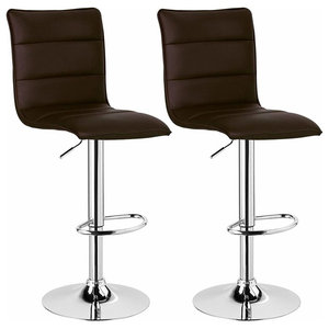 Bar Stools Upholstered With Faux Leather With High Backrest, Set of 2, Brown