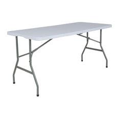 "Flash Furniture 60"" x 27"" Plastic Bi-Fold Table in Granite White"