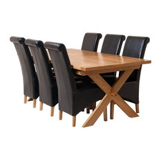 Vermont Oak Extending Dining Table, 6 Montana Chairs, Black Leather