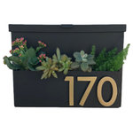 Urban Mettle - You've Got Mail Mailbox 2.0 With Numbers, Black With Brass Numbers, Two Numbers - Welcome Home. Create instant curb appeal with this unique mailbox with planter box for seasonal flowers or colorful succulents and sleek magnetic aluminum address numbers!