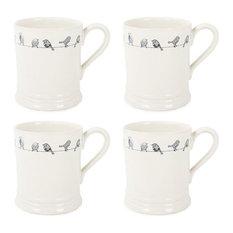 Blue Tit Mugs, Set of 4