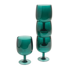 Galleyware Stacking Acrylic Wine Glasses, Green, Set of 4