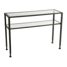 Transitional Console Table Tempered Glass Top And Shelf Distressed Silver