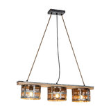 Industrial Pendant Lamp 3 Wooden Plank and Distressed Rust Mesh Shade - Tub