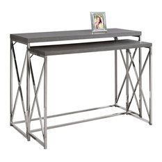 Monarch Specialties   Console Table, 2 Piece Set, Gray With Chrome Metal    Console