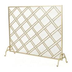 GDF Studio Jalama Single Panel Iron Fireplace Screen, Gold