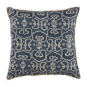 Bengali Indian Blue Pillow With Eyelash Trim
