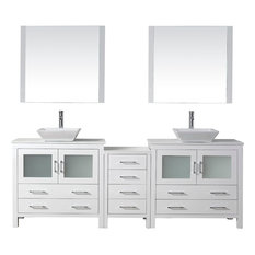 """90"""" Double Vanity, White, White Engineered Stone Top, 0 Sink Faucet, Mirrors"""