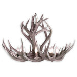 "CDN Antler Designs, Inc - Real Antler Mule Deer Rocky Mountain Chandelier Light, Large - Large Real Antler Mule Deer Rocky Mountain Chandelier (34-36""D x 22-24""H) 6 light sockets, 6 feet of chain"