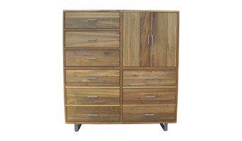 Kubrick 9 Drawer 2 Door Storage Cabinet - Handcrafted from Reclaimed Teak