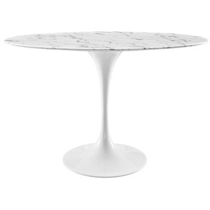 Modern Contemporary Urban Mid Century Oval Dining Table, White, Marble Faux