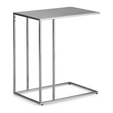 Simpli Home Sloan End Table in Silver