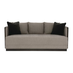 Modern Uptown Graphite Tweed Bench Cushion Sofa