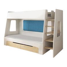 DEVOTO - Nimbo Modern Bunk Bed, Blue - Bunk Beds
