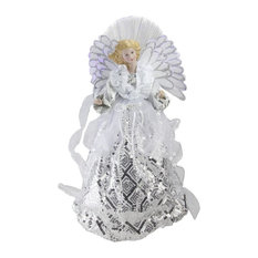 "16"" Battery-Operated Angel, White and Silver Sequined Gown Christmas Tree Topper"